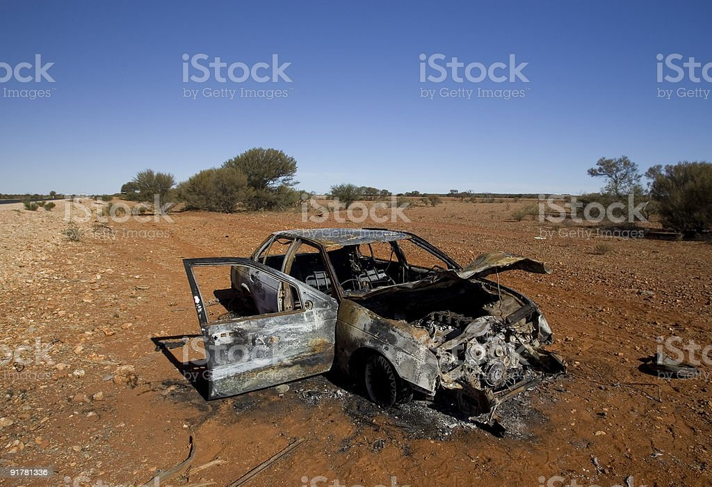 Burnt Car in Australian Outback royalty-free stock photo