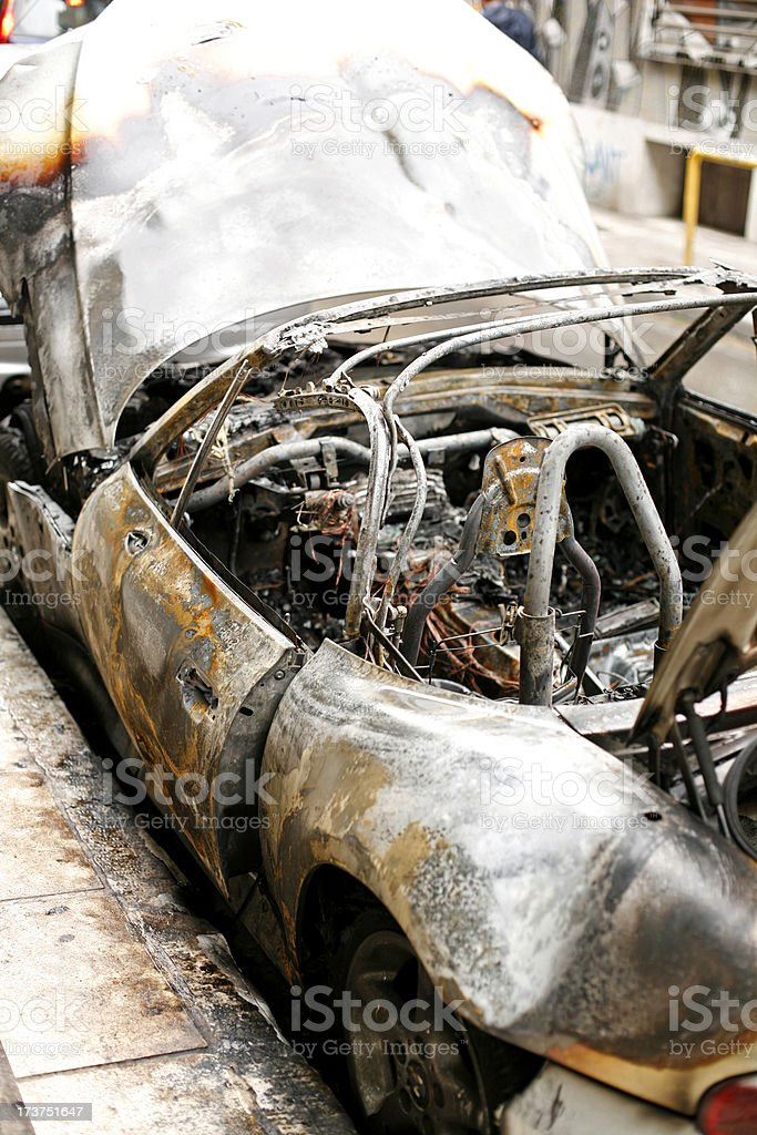 Burnt car royalty-free stock photo