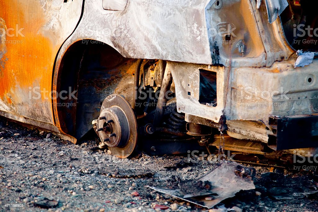 Burnt Car Wreck royalty-free stock photo