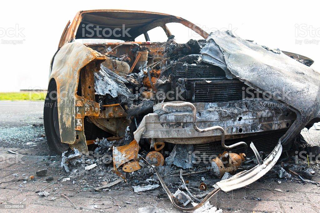 Burnt Car Wreck stock photo