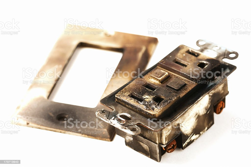 Burnt GFCI Electrical Outlet royalty-free stock photo