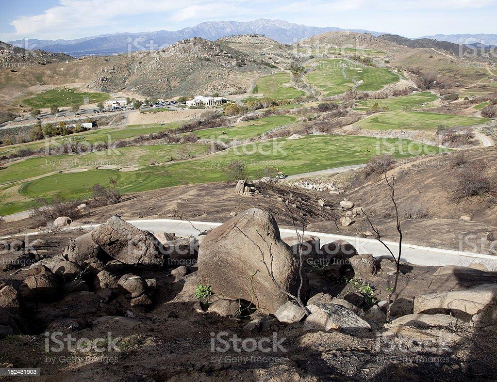 burnt hillside stock photo