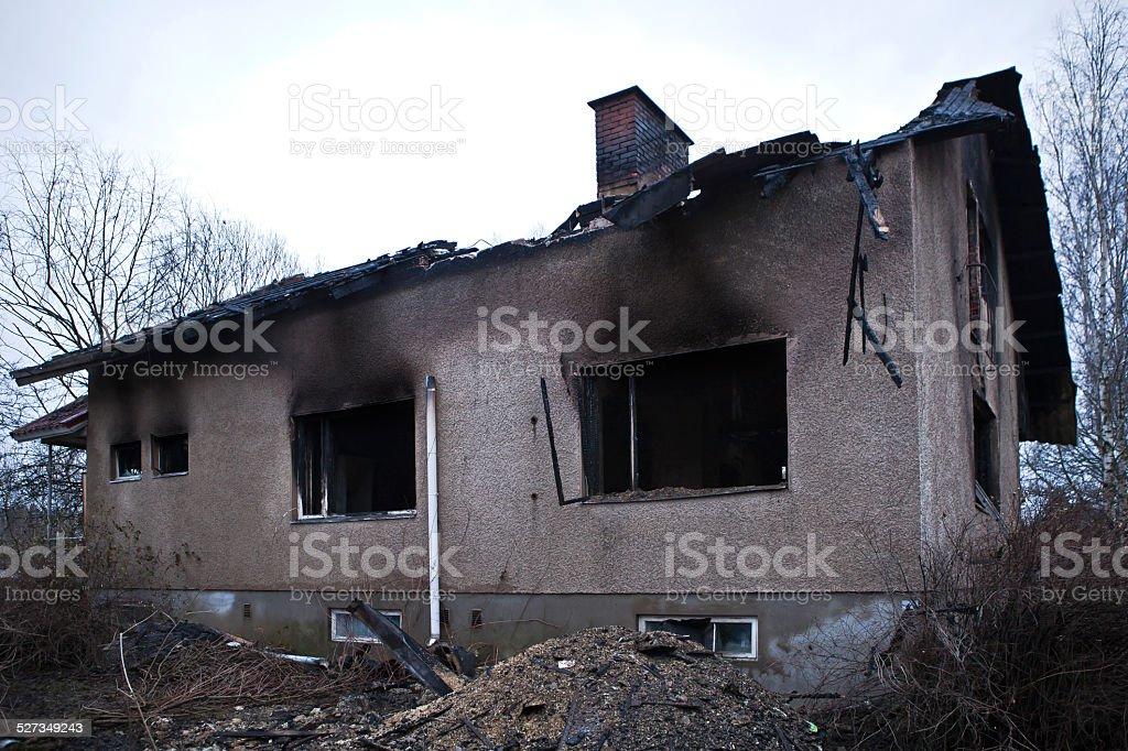 burnt Home stock photo