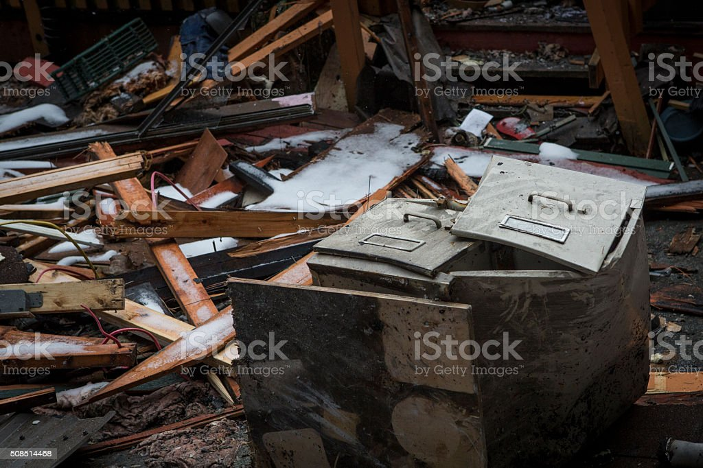 Burnt house and fire damage. stock photo