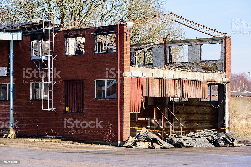 Burnt industrial building stock photo
