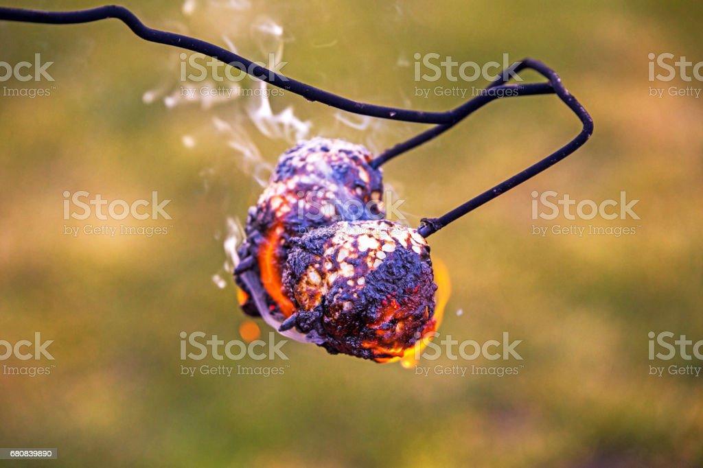 Burnt marshmallows stock photo