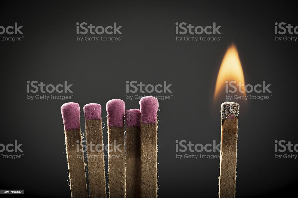 Burnt Match in Matchbook stock photo