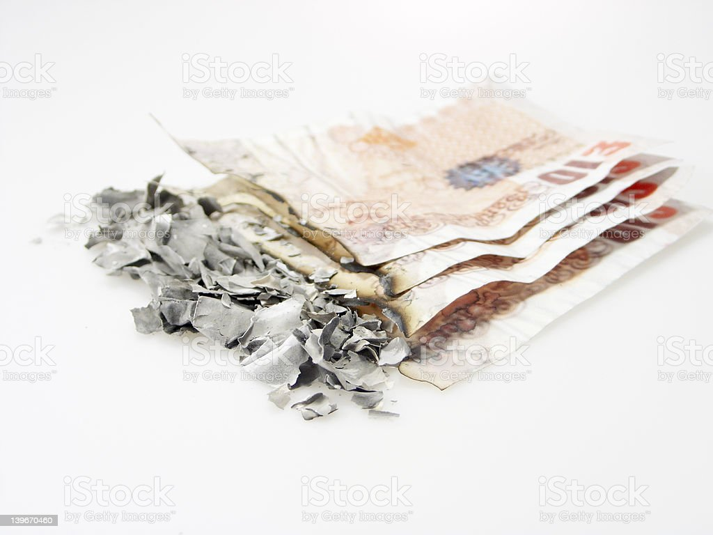 Burnt money royalty-free stock photo