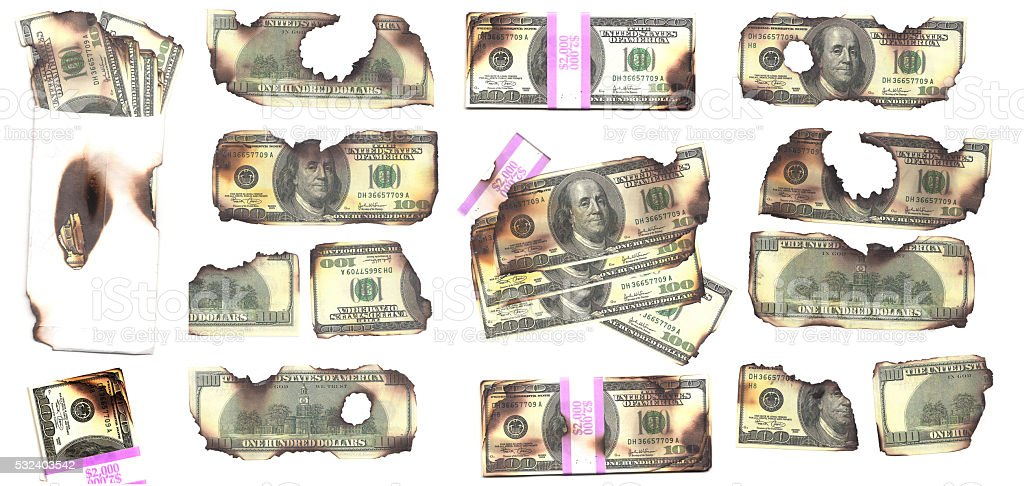 Burnt Money stock photo