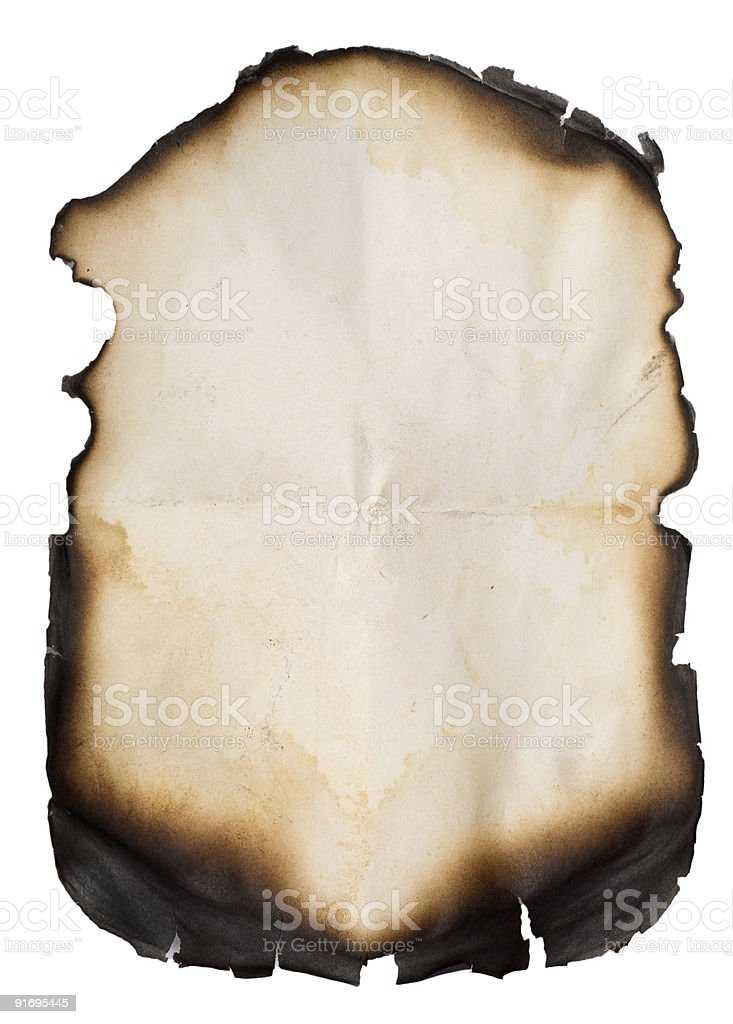 burnt old paper on white royalty-free stock photo
