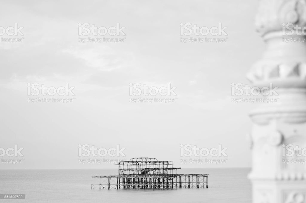 Burnt out Brighton Pier stock photo