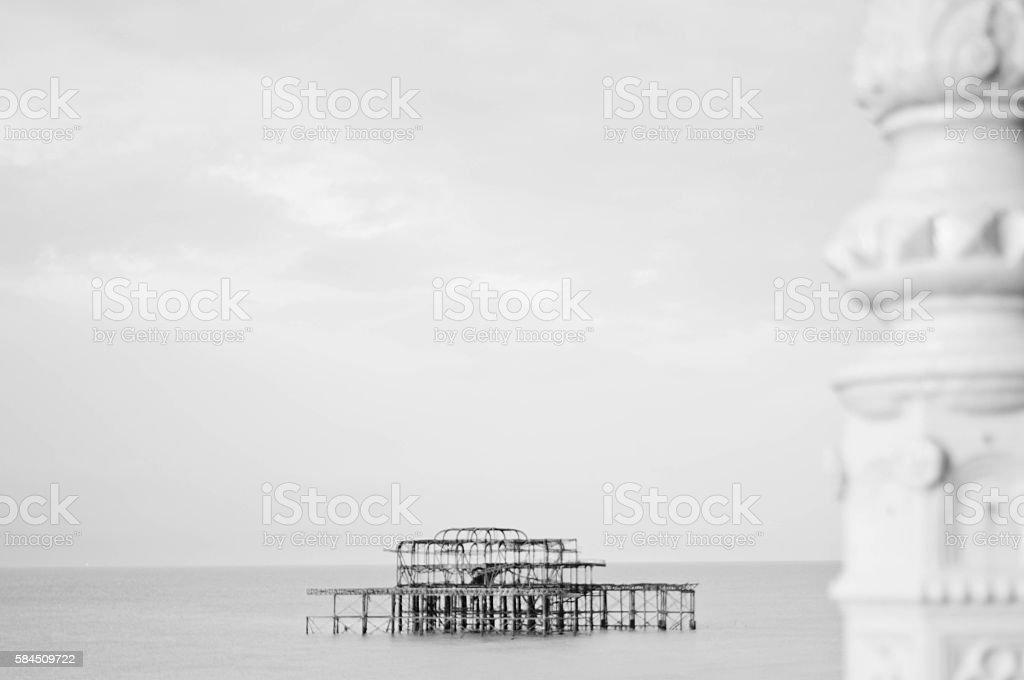 Burnt out Brighton Pier stock photo