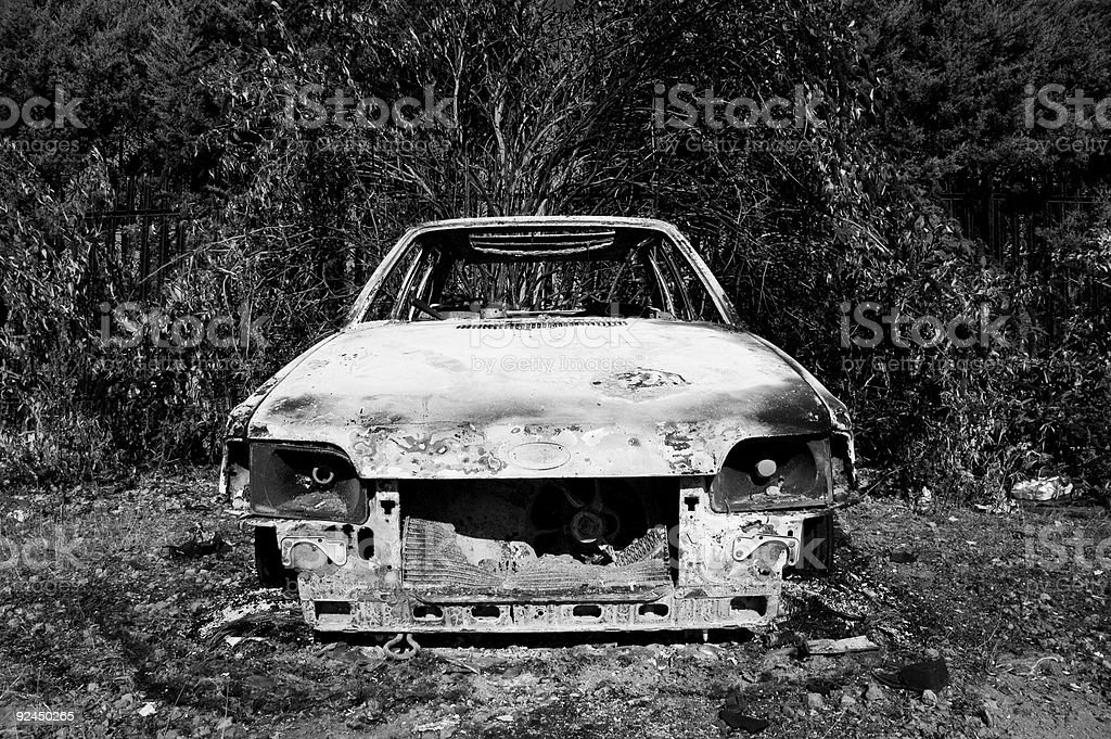 burnt out car #2 - black and white stock photo
