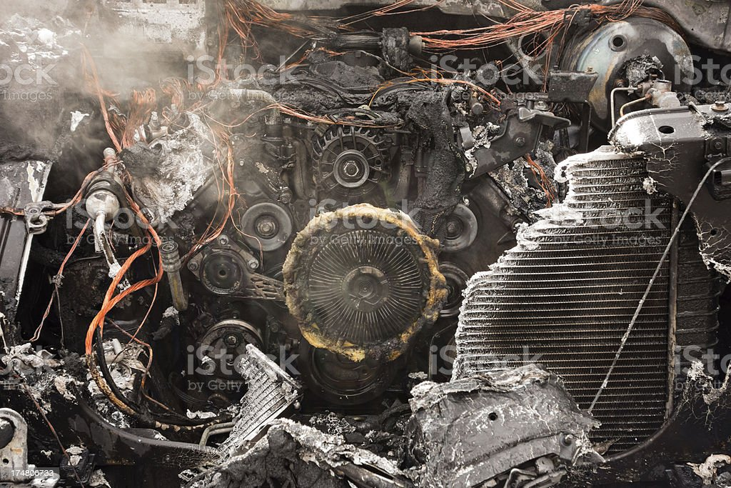 Burnt Out Car Engine royalty-free stock photo