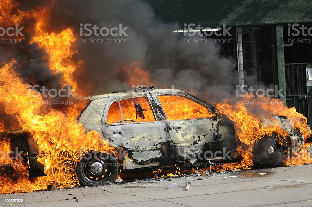 Burnt out  Car. stock photo
