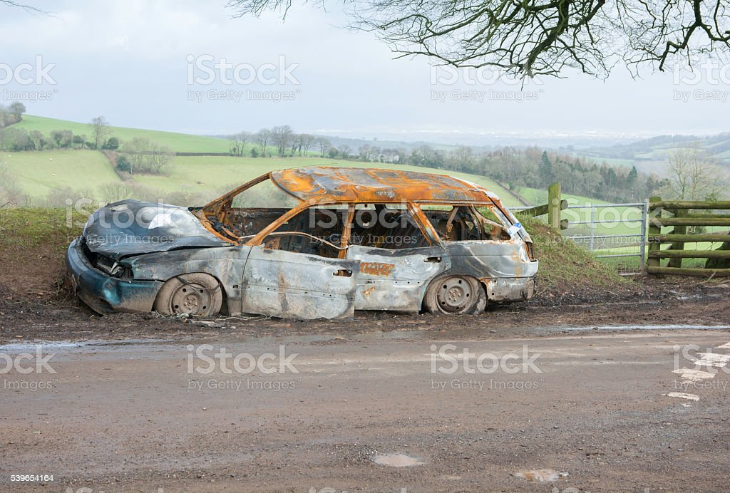 burnt out car stock photo