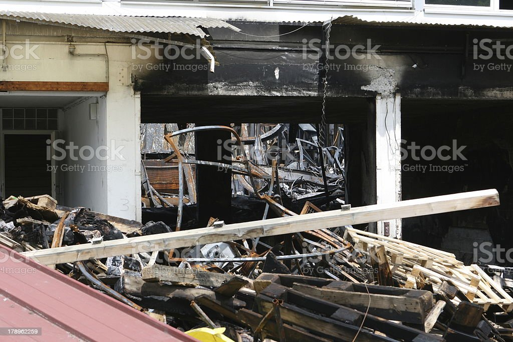 Burnt out factory royalty-free stock photo