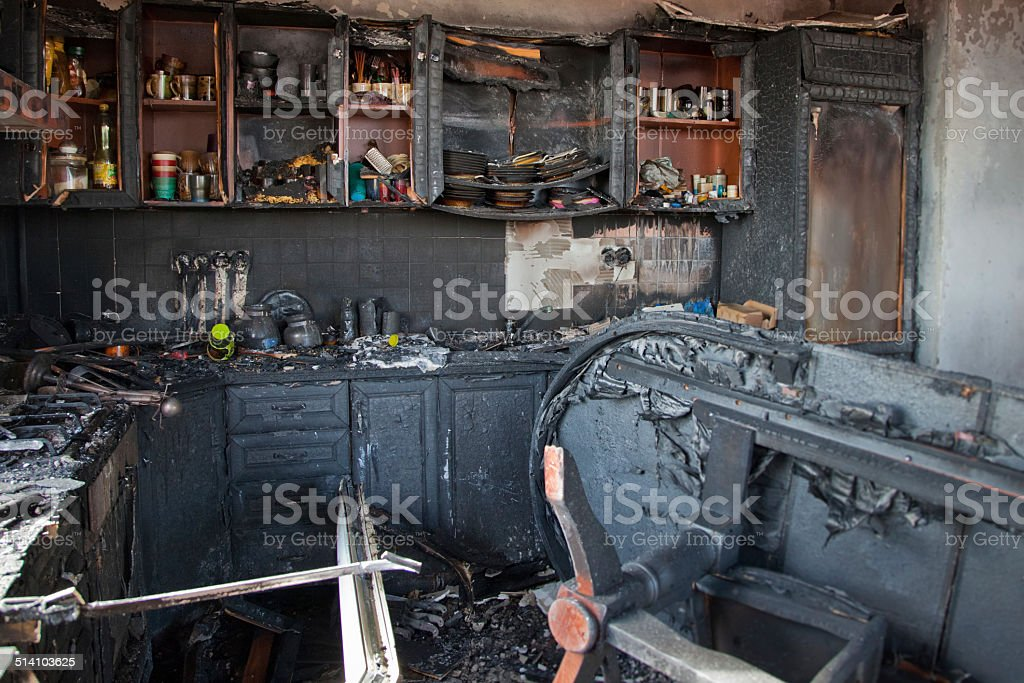 Burnt out house stock photo