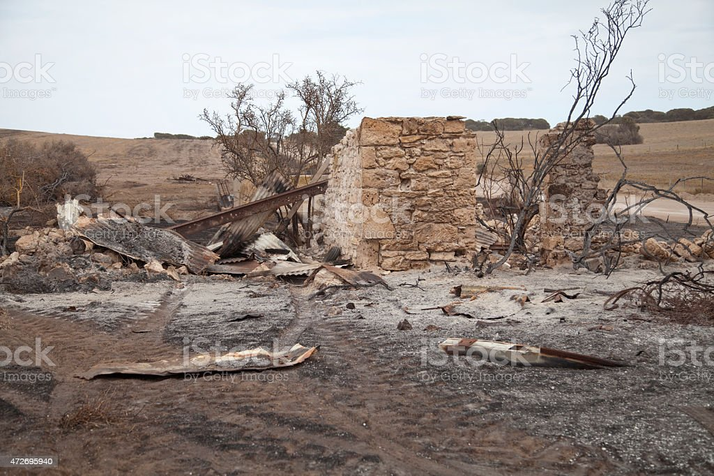 Burnt out ruined cottage on Yorke Peninsula farm land stock photo
