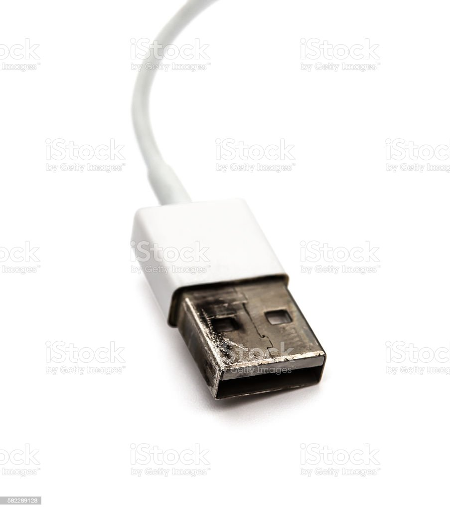 burnt out usb cable for a charger stock photo