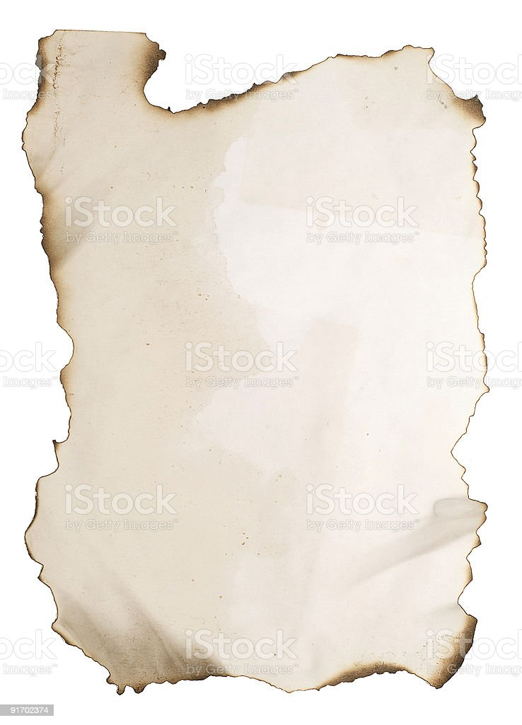 burnt paper on white royalty-free stock photo