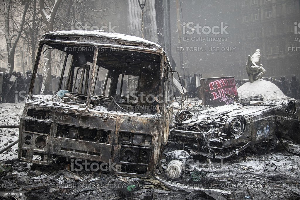 Burnt police vehicles Kiev, Ukraine royalty-free stock photo