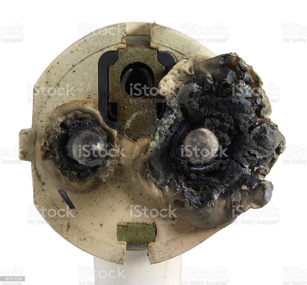 burnt power plug stock photo