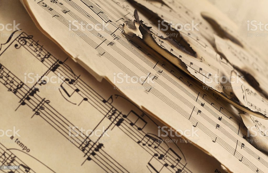 Burnt vintage  notes royalty-free stock photo