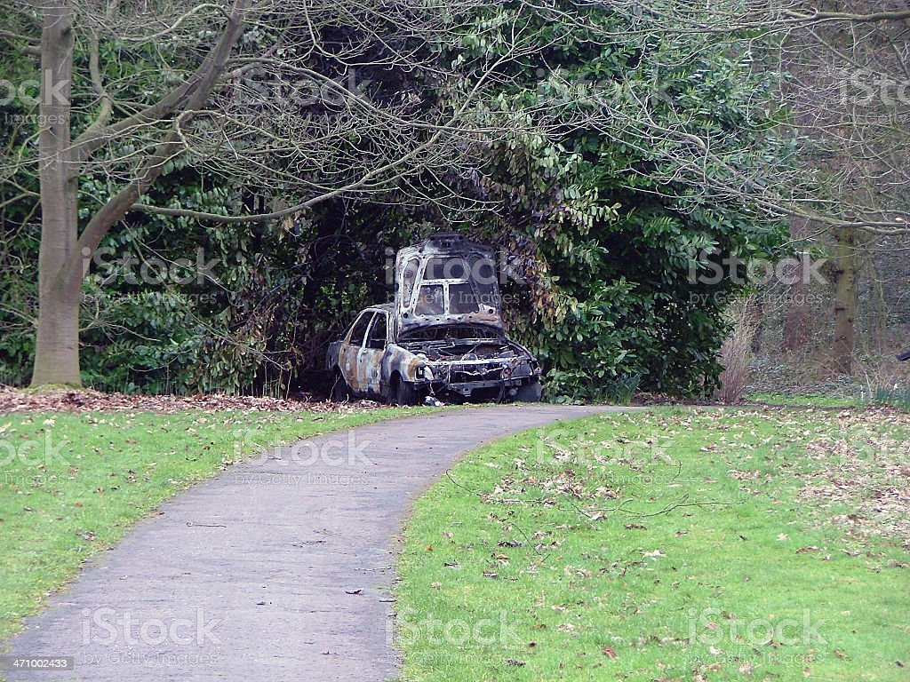 Burnt-out car stock photo
