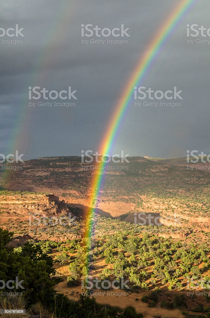 Burr Trail rainbow stock photo