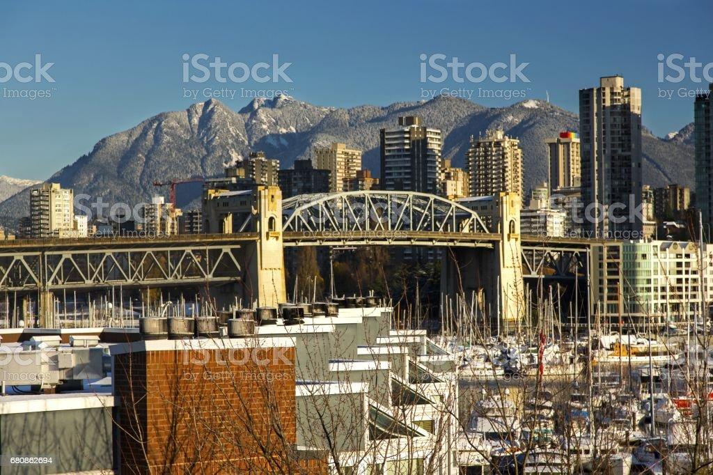 Burrard Bridge and City of Vancouver, British Columbia, Canada stock photo