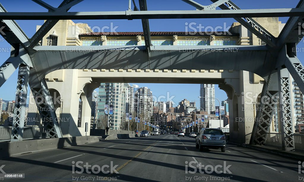 Burrard Bridge and West End Neighbourhood, Vancouver, Canada in Autumn stock photo
