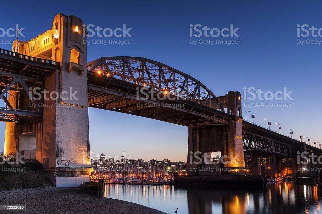 Burrard Bridge at dusk - Vancouver, BC stock photo