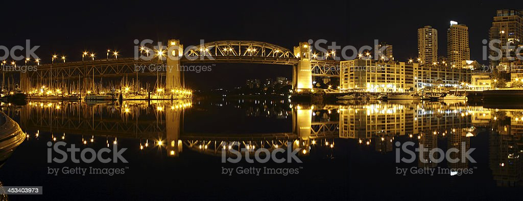 Burrard Bridge Night Panorama, Vancouver stock photo