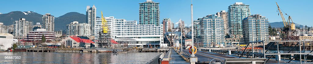 Burrard Dry Dock panorama, North Vancouver,BC stock photo