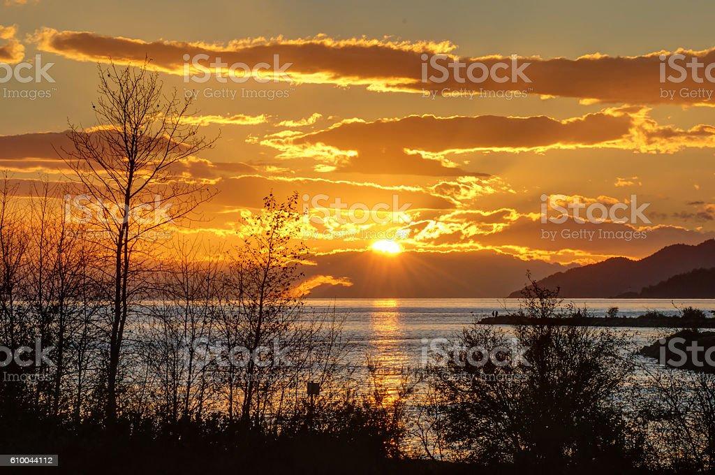 Burrard Inlet at sunset stock photo