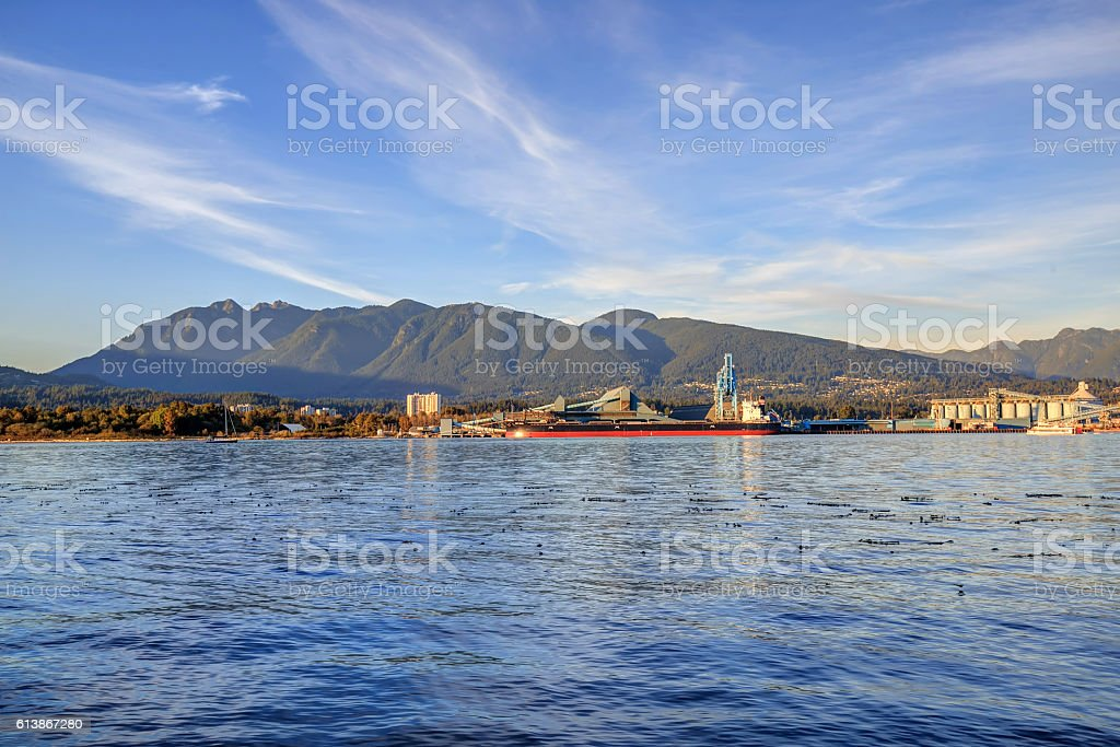 Burrard Inlet before sunset stock photo