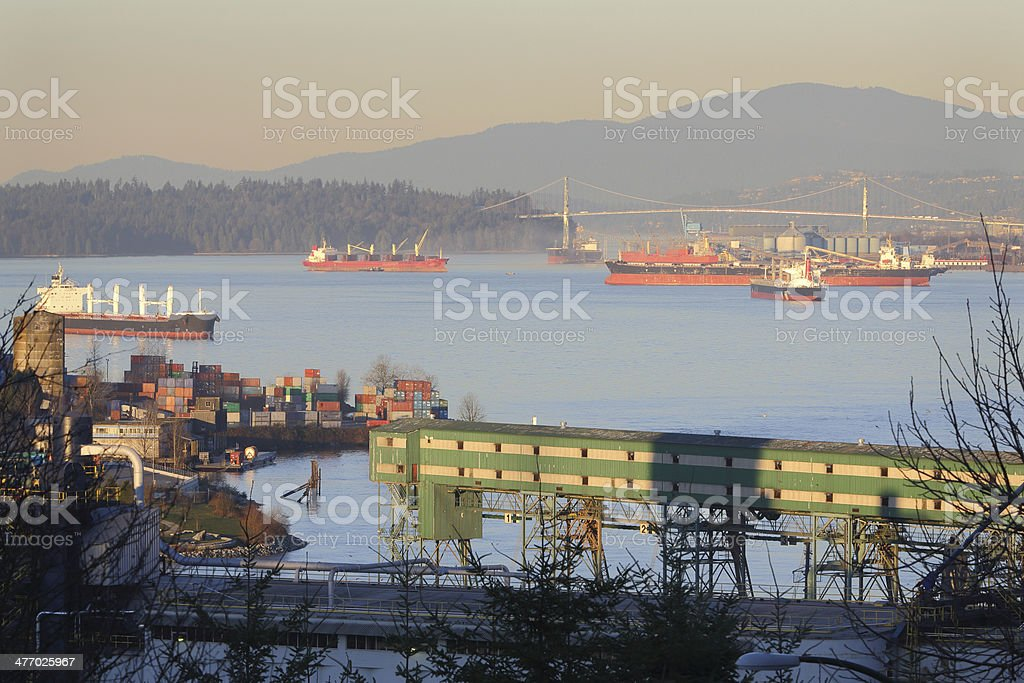 Burrard Inlet Freighters royalty-free stock photo