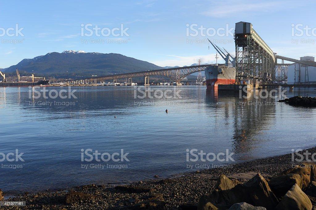 Burrard Inlet Grain Elevator, Vancouver stock photo