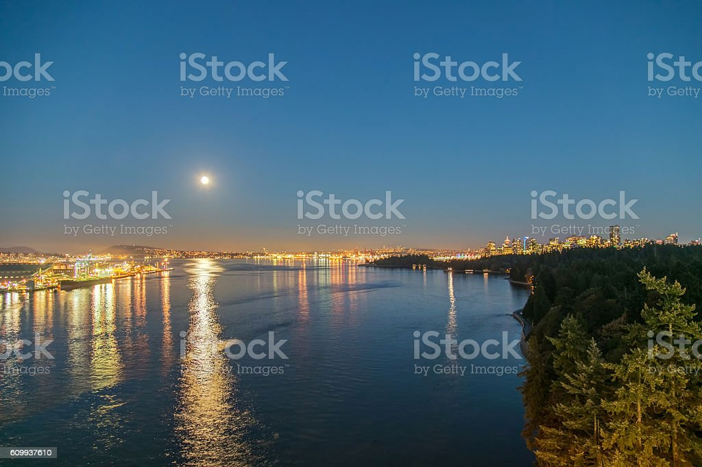 Burrard Inlet with Harvest Moon, Vancouver, BC, Canada stock photo