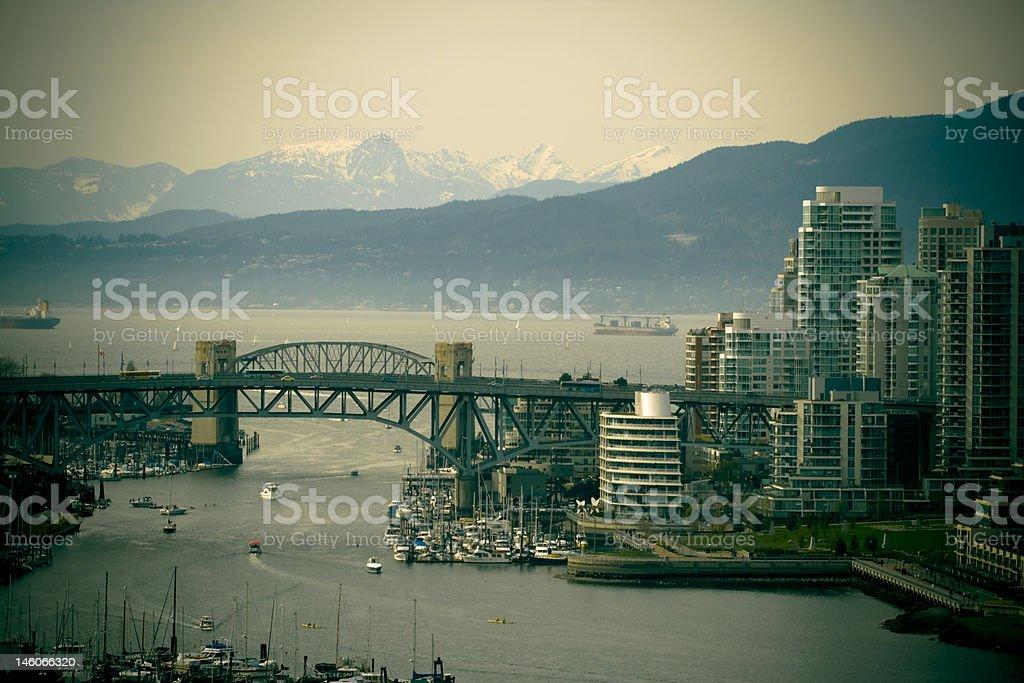 Burrard Street Bridge and Beyond Vancouver royalty-free stock photo