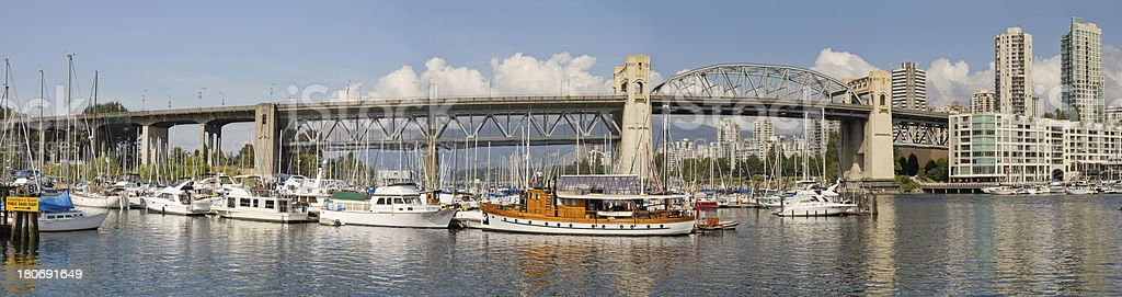 Burrard Street Bridge by Fishermen's Wharf in Vancouver BC stock photo