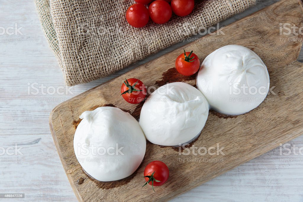 Burrata cheese stock photo