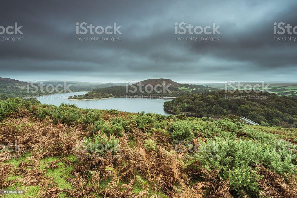 Burrator Reservoir in Dartmoor at fall stock photo