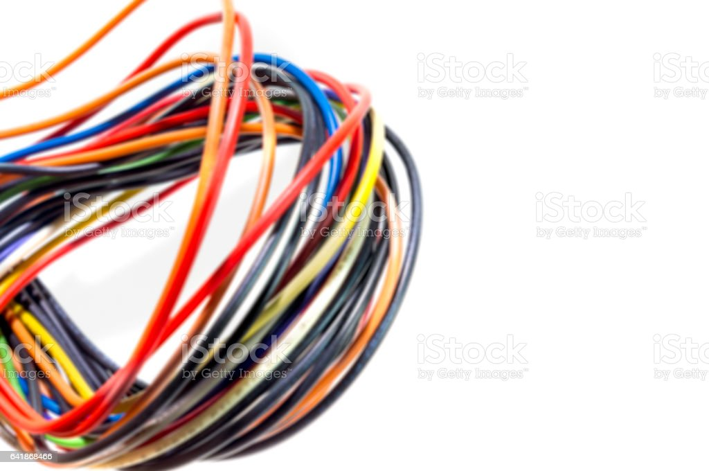 Burred Multicolored computer network cable isolated. stock photo