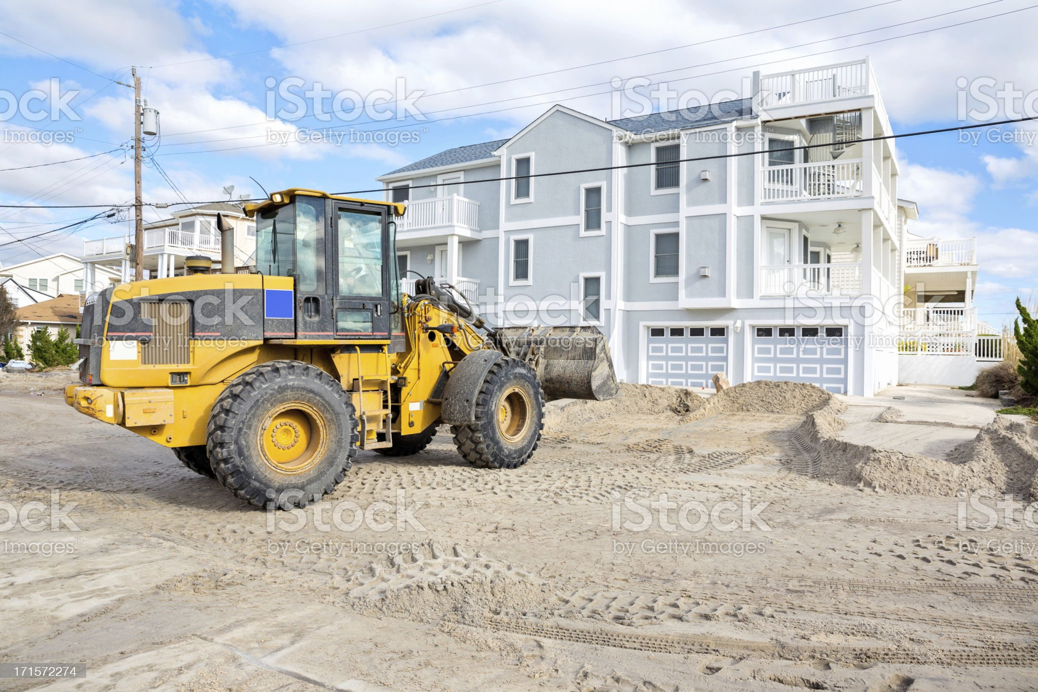 Burried in sand- Hurricane Damage on a New Jersey street royalty-free stock photo