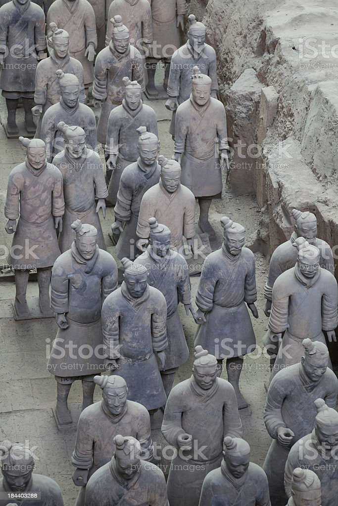 Burried Terracotta Warriors in Xi'an, China royalty-free stock photo