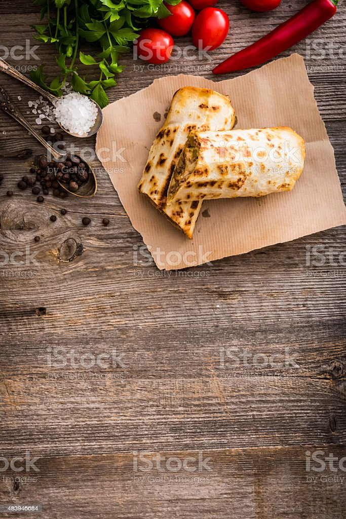 burrito with vegetables stock photo