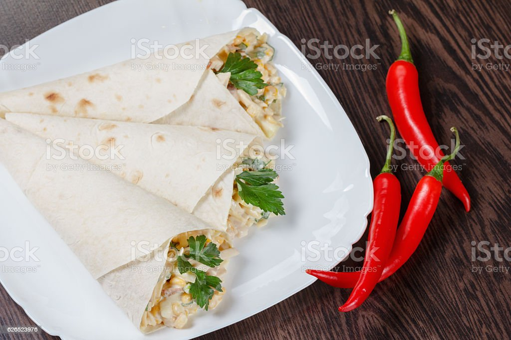 Burritos on a plate stock photo