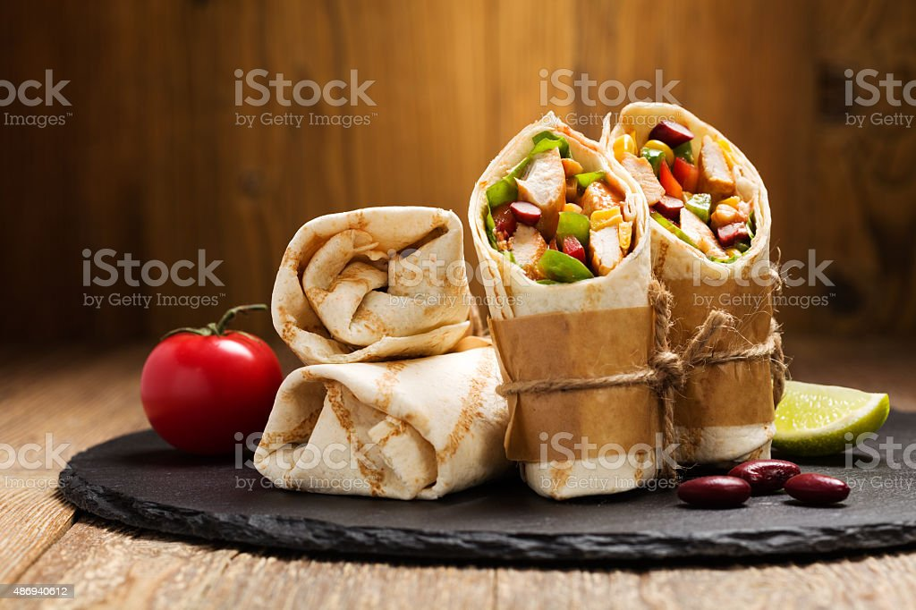 Burritos wraps with chicken stock photo